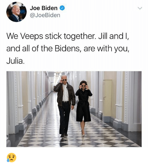 Joe Biden, Memes, and All of The: Joe Biden  @JoeBiden  We Veeps stick together. Jill and I,  and all of the Bidens, are with you,  Julia. 😥