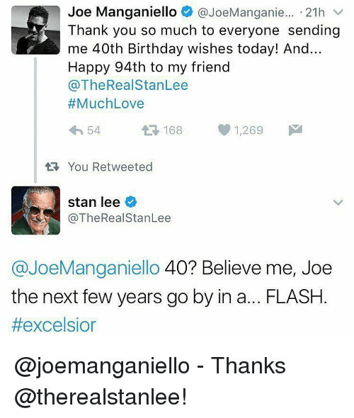 Joe Manganiello 21h V Thank You So Much To Everyone Sending Me 40th