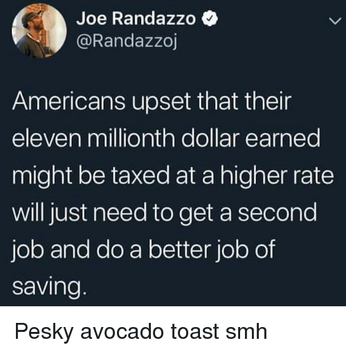 Smh, Avocado, and Toast: Joe Randazzo  @Randazzoj  Americans upset that their  eleven millionth dollar earned  might be taxed at a higher rate  will just need to get a second  job and do a better job of  saving Pesky avocado toast smh