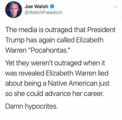 """Elizabeth Warren, Memes, and Native American: Joe Walsh  @WalshFreedom  The media is outraged that President  Trump has again called Elizabeth  Warren """"Pocahontas.""""  Yet they weren't outraged when it  was revealed Elizabeth Warren lied  about being a Native American just  so she could advance her career.  Damn hypocrites."""