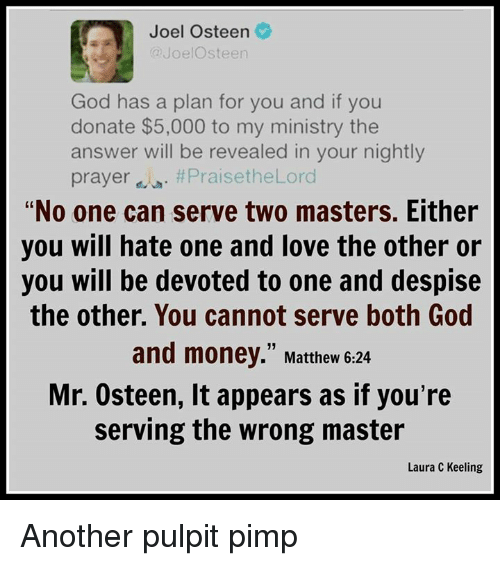 Joel Osteen A Joel Steen God Has A Plan For You And If You Donate