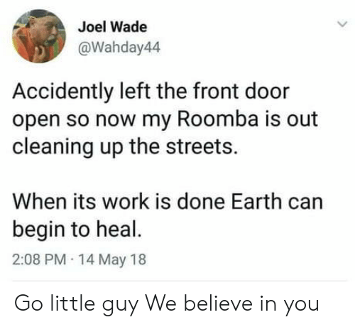 Streets, Roomba, and Work: Joel Wade  @Wahday44  Accidently left the front door  open so now my Roomba is out  cleaning up the streets.  When its work is done Earth can  begin to heal.  2:08 PM 14 May 18 Go little guy We believe in you