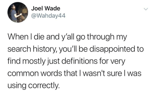 Disappointed, Common, and History: Joel Wade  @Wahday44  When l die and y'all go through my  search history, you'll be disappointed to  find mostly just definitions for very  common words that I wasn't sure I was  using correctly.