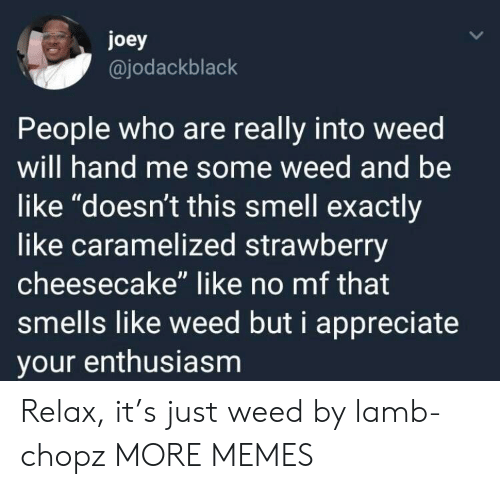 "Be Like, Dank, and Memes: joey  @jodackblack  People who are really into weed  will hand me some weed and be  like ""doesn't this smell exactly  like caramelized strawberry  cheesecake"" like no mf that  smells like weed but i appreciate  your enthusiasm Relax, it's just weed by lamb-chopz MORE MEMES"