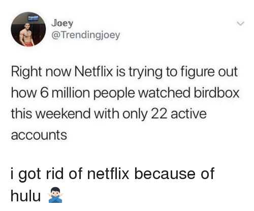 Hulu, Netflix, and How: Joey  @Trendingjoey  Right now Netflix is trying to figure out  how 6 million people watched birdbox  this weekend with only 22 active  accounts i got rid of netflix because of hulu 🙅🏻‍♂️