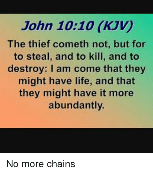 John 1010 KJV the Thief Cometh Not but for to Steal and to Kill and