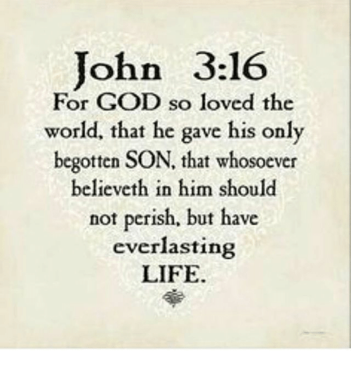 John 316 For God So Loved The World That He Gave His Only Begotten