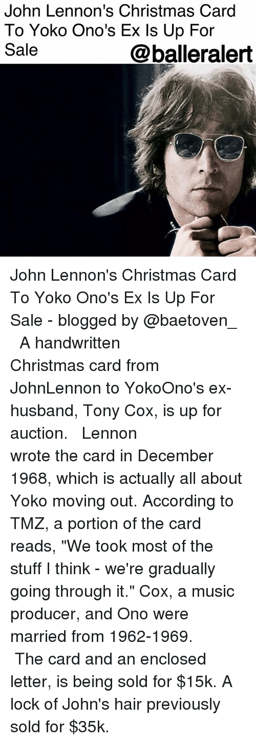 John Lennon\'s Christmas Card to Yoko Ono\'s Ex Is Up for Sale John ...