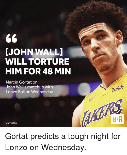 John Wall, Twitter, and Wednesday: JOHN WALL  WILL TORTURE  HIM FOR 48 MIN  Marcin Gortat on  John Wall's matchup with  Lonzo Ball on Wednesday  ks  B R  via Twitter Gortat predicts a tough night for Lonzo on Wednesday.
