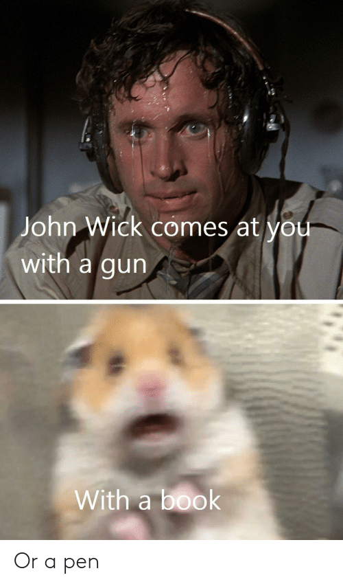 John Wick Comes At You With A Gun With A Book Or A Pen John Wick Meme On Me Me