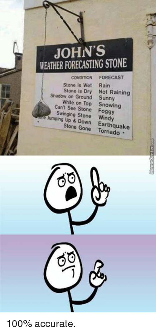 Memes, Earthquake, and Forecast: JOHN'S  WEATHER FORECASTING STONE  CONDITION FORECAST  Stone is Wet  Rain  Stone is Dry Not Raining  Shadow on Ground Sunny  White on Top Snowing  Can't Stone Foggy  Swinging Stone Windy  umping Up & Down Earthquake  Stone Gone 100% accurate.
