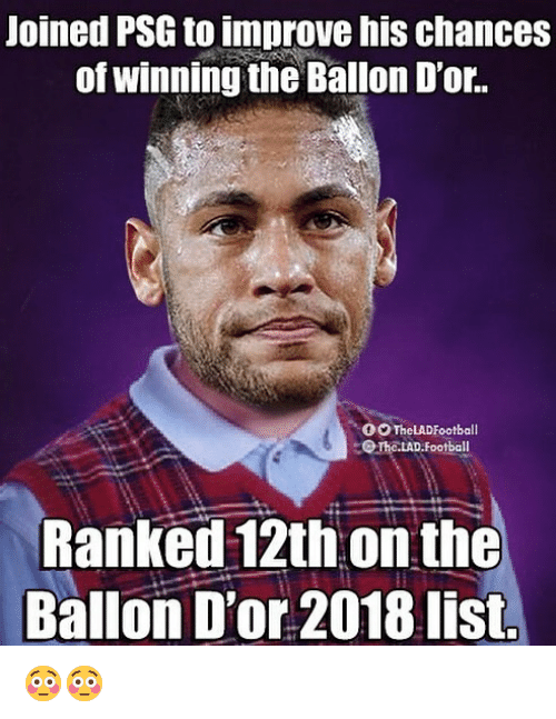 Football, Memes, and 🤖: Joined PSG to improve his chances  of winning the Ballon D'or.  00TheLADFootball  OTho.LAD.Football  Ranked 12th on the  Ballon D'or 2018 list. 😳😳