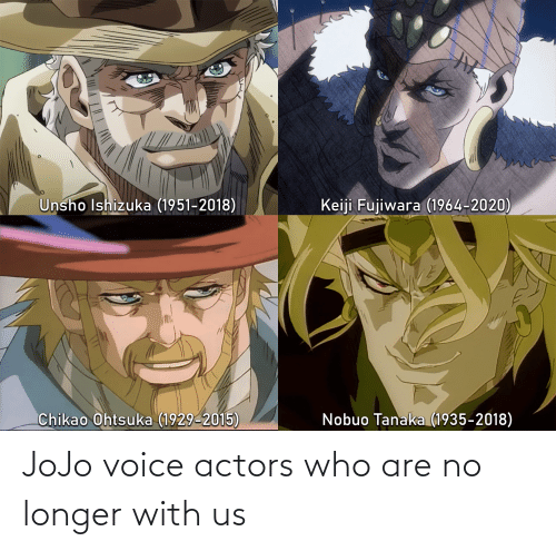 Jojo, Voice, and Who: JoJo voice actors who are no longer with us
