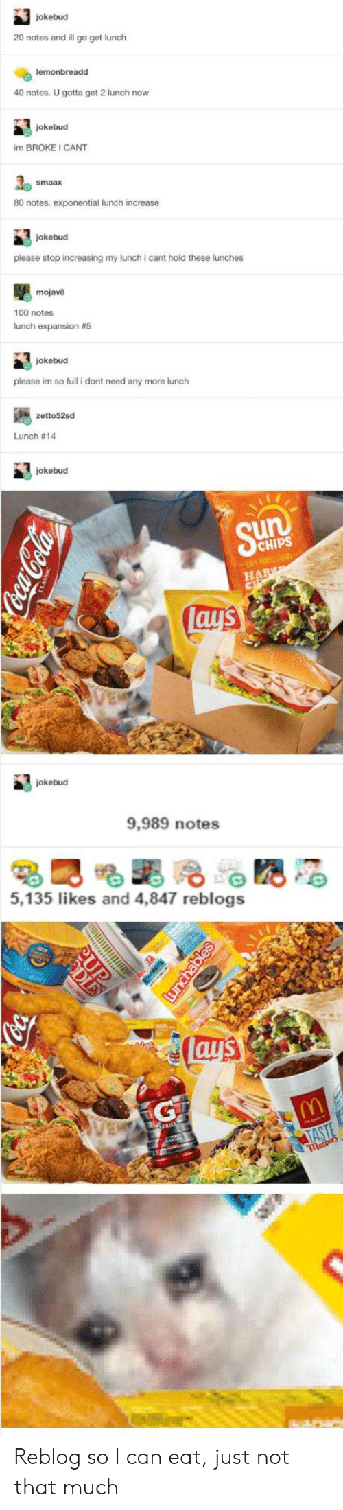 Lay's, Sun, and Chips: jokebud  20 notes and ill go get lunch  lemonbreadd  40 notes. U gotta get 2 lunch now  jokebud  im BROKE I CANT  80 notes. exponential lunch increase  jokebud  please stop increasing my lunch i cant hold these lunches  mojav8  100 notes  lunch expansion # 5  jokebud  please im so full i dont need any more lunch  zetto52sd  Lunch # 14  jokebud  Sun  CHIPS  00 WLE GRA-  HAR  lay's  jokebud  9,989 notes  5,135 likes and 4,847 reblogs  ay's  TASTE  matters  CocaCela  LES  unchables Reblog so I can eat, just not that much
