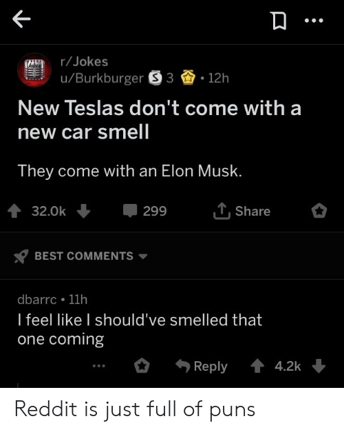 Jokes uBurkburger S3 12h New Teslas Don't Come With a New Car Smell