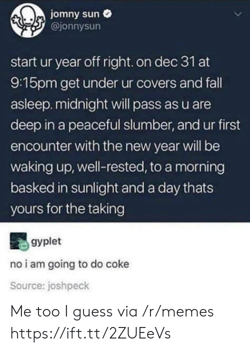 Fall, Memes, and New Year's: jomny sun  @jonnysun  start ur year off right.on dec 31 at  9:15pm get under ur covers and fall  asleep.midnight will pass as u are  deep in a peaceful slumber, and ur first  encounter with the new year will be  waking up, well-rested, to a morning  basked in sunlight and a day thats  yours for the taking  gyplet  no i am going to do coke  Source: joshpeck Me too I guess via /r/memes https://ift.tt/2ZUEeVs