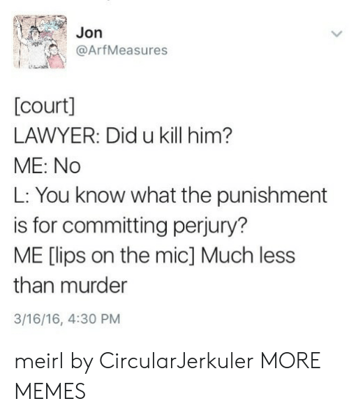 Dank, Lawyer, and Memes: Jon  @ArfMeasures  [court]  LAWYER: Did u kill him?  ME: No  L: You know what the punishment  is for committing perjury?  ME [lips on the mic] Much less  than murder  3/16/16, 4:30 PM meirl by CircularJerkuler MORE MEMES