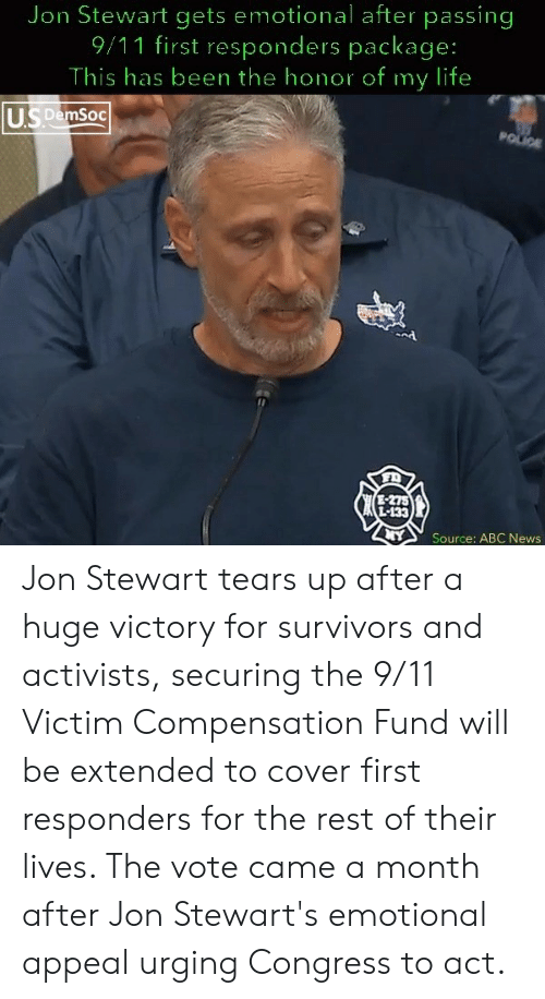 Jon Stewart Gets Emotional After Passing 911 First Responders