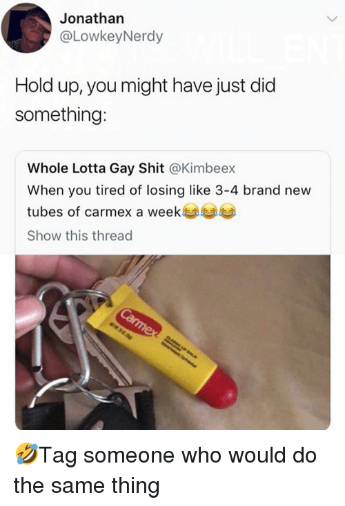 Memes, Shit, and Brand New: Jonathan  @LowkeyNerdy  Hold up, you might have just did  something:  Whole Lotta Gay Shit @Kimbeex  When you tired of losing like 3-4 brand new  tubes of carmex a week  Show this thread 🤣Tag someone who would do the same thing