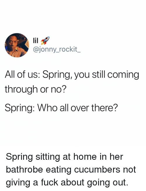 Funny, Fuck, and Home: @jonny_rockit_  All of us: Spring, you still coming  through or no?  Spring: Who all over there? Spring sitting at home in her bathrobe eating cucumbers not giving a fuck about going out.
