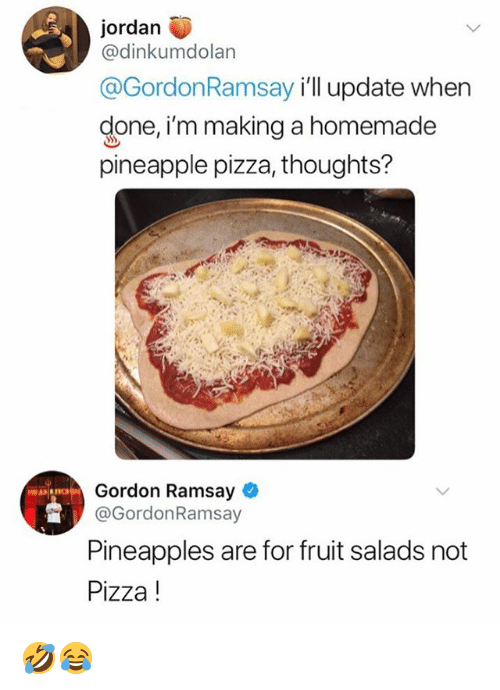 Gordon Ramsay, Memes, and Pizza: jordan  @dinkumdolan  @GordonRamsay ill update when  done, im making a homemade  pineapple pizza, thoughts?  Gordon Ramsay  @GordonRamsay  Pineapples are for fruit salads not  Pizza! 🤣😂