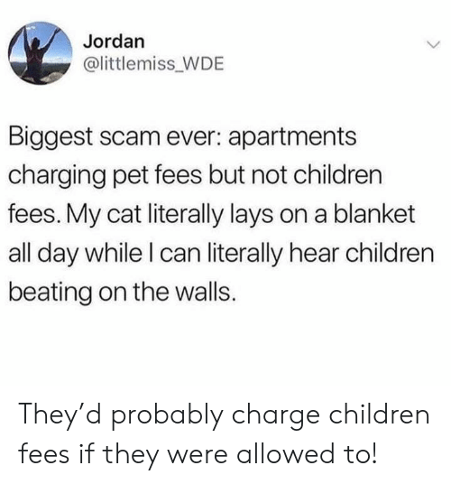 Children, Lay's, and Jordan: Jordan  @littlemiss WDE  Biggest scam ever: apartments  charging pet fees but not children  fees. My cat literally lays on a blanket  all day while l can literally hear children  beating on the walls. They'd probably charge children fees if they were allowed to!