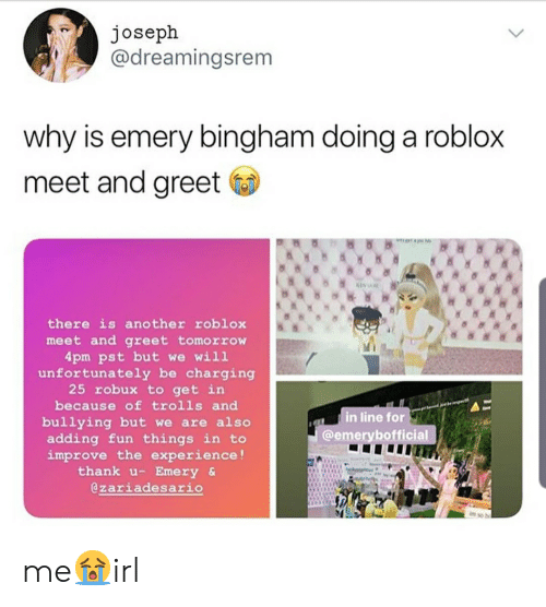 Joseph Why Is Emery Bingham Doing A Roblox Meet And Greet A - meeting real hackers in roblox