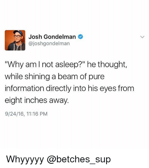 """Information, Girl Memes, and Thought: Josh Gondelman  @joshgondelman  """"Why amlnot asleep?"""" he thought,  while shining a beam of pure  information directly into his eyes from  eight inches away  9/24/16, 11:16 PM Whyyyyy @betches_sup"""