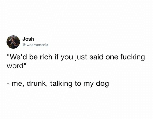"""Dank, Drunk, and Fucking: Josh  @iwearaonesie  """"We'd be rich if you just said one fucking  word""""  - me, drunk, talking to my dog"""