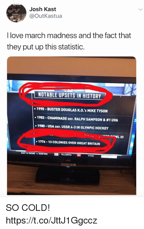 Funny, Hockey, and Love: Josh Kast  @OutKastua  I love march madness and the fact that  they put up this statistic.  NOTABLE UPSETS IN HISTORY  +1990-BUSTER DOUGLAS Κ.Ο.'s MIKE TYSON  1982-CHAMINADE DEF. RALPH SAMPSON & #1 UVA  1980-USA DEF. USSR 4-3 IN OLYMPIC HOCKEY  1776-13 COLONIES OVER GREAT BRITAIN  EAST 1ST ROUND 16 RADFORD 6  VILLANOVA  92  FITHU  JVC SO COLD! https://t.co/JttJ1Ggccz