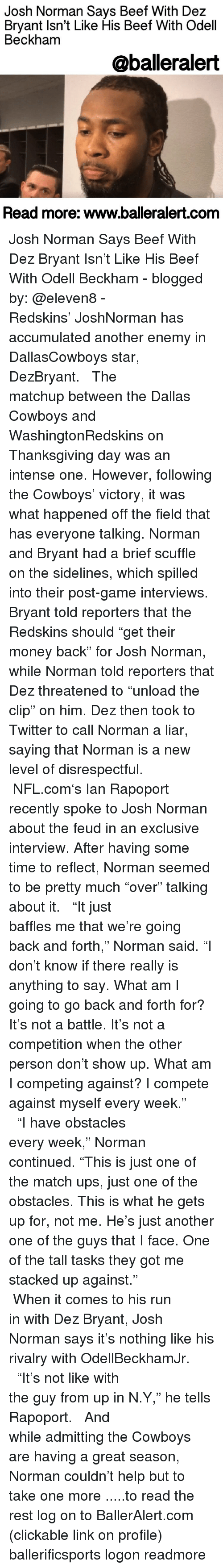 funny post gainterviews memes of on interviewer another one another one and beef josh norman says beef dez bryant