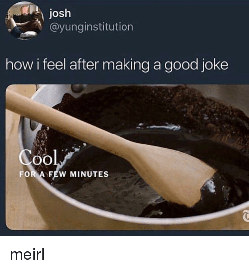 Good, MeIRL, and How: Josh  @yunginstitution  how i feel after making a good joke  oO  FOR A FEW MINUTES meirl