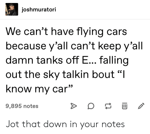 """Cars, Car, and Sky: joshmuratori  We can't have flying cars  because y'all can't keep y'all  damn tanks off E... falling  out the sky talkin bout """"I  know my car  9,895 notes  A Jot that down in your notes"""