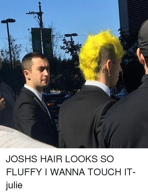 Memes, 🤖, and Fluffy: JOSHS HAIR LOOKS SO FLUFFY I WANNA TOUCH IT-julie