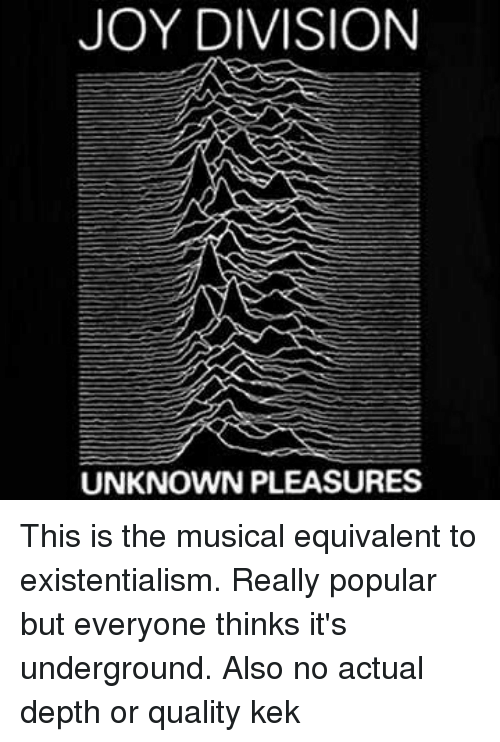 Memes, Existentialism, and 🤖: JOY DIVISION  UNKNOWN PLEASURES This is the musical equivalent to existentialism. Really popular but everyone thinks it's underground. Also no actual depth or quality kek