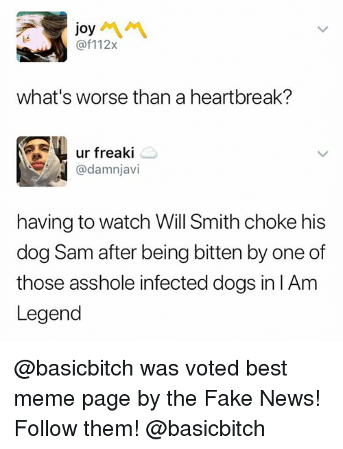 Dogs, Fake, and Funny: joy  @f112x  what's worse than a heartbreak?  ur freaki  @damnjavi  having to watch Will Smith choke his  dog Sam after being bitten by one of  those asshole infected dogs in l Am  Legend @basicbitch was voted best meme page by the Fake News! Follow them! @basicbitch