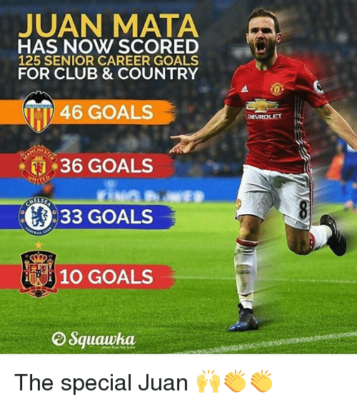 Memes, 🤖, and Juanes: JUAN MATA  HAS NOW SCORED  125 SENIOR CAREER GOALS  FOR CLUB & COUNTRY  46 GOALS  36 GOALS  33 GOALS  10 GOALS  Squawka.  DEVROLET The special Juan 🙌👏👏