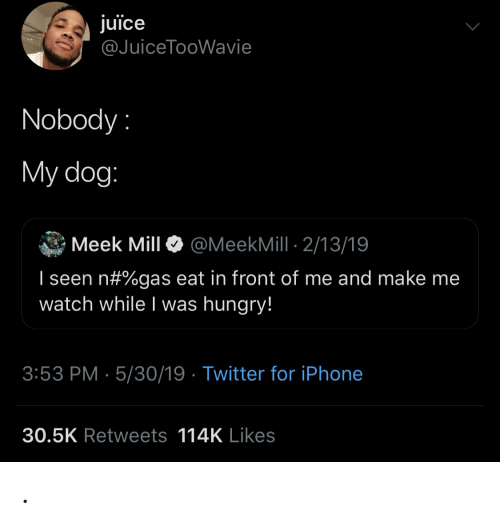 Blackpeopletwitter, Funny, and Hungry: juice  @JuiceTooWavie  Nobody  My dog:  Meek Mill  @MeekMill 2/13/19  I seen n#%gas eat in front of me and make me  watch while I was hungry!  3:53 PM 5/30/19 Twitter for iPhone  30.5K Retweets 114K Likes .