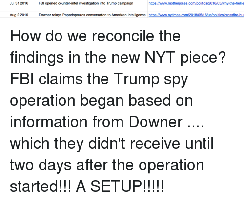 Fbi, Politics, and American: Jul 31 2016  FBI opened counter-intel investigation into Trump campaign  https://www.motheriones.com/politics/2018/03/why-the-hell-  Aug 2 2016 Downer relays Papadopoulos conversation to American Intelligence https://www.nytimes.com/2018/05/16/us/politics/crossfire-hu