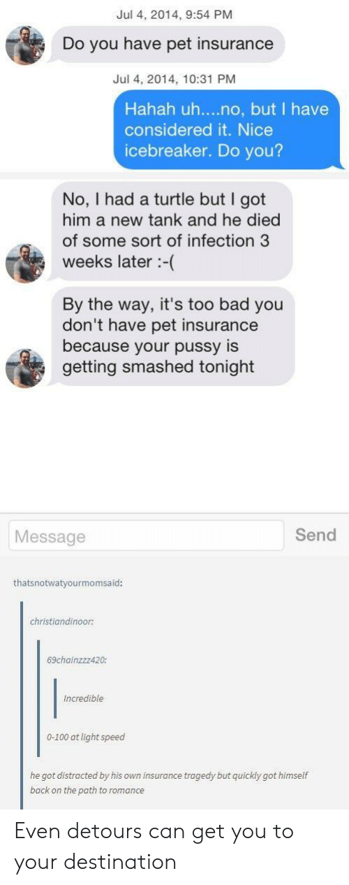 Anaconda, Bad, and Pussy: Jul 4, 2014, 9:54 PM  Do you have pet insurance  Jul 4, 2014, 10:31 PM  Hahah uh....no, but I have  considered it. Nice  icebreaker. Do you?  No, I had a turtle but I got  him a new tank and he died  of some sort of infection 3  weeks later :-(  By the way, it's too bad you  don't have pet insurance  because your pussy is  getting smashed tonight  Message  Send  thatsnotwatyourmomsaid:  christiandinoor:  69chainzzz420:  Incredible  0-100 at light speed  he got distracted by his own insurance tragedy but quickly got himself  back on the poth to romance Even detours can get you to your destination