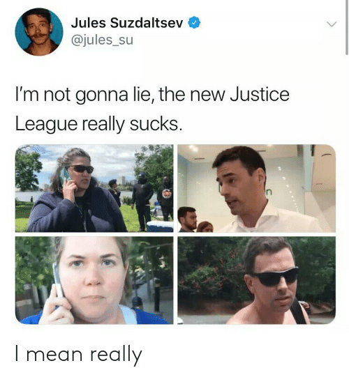 Justice, Justice League, and Mean: Jules Suzdaltsev  @jules_su  I'm not gonna lie, the new Justice  League really sucks I mean really
