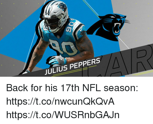 Memes, Nfl, and Back: JULIUS PEPPERS Back for his 17th NFL season: https://t.co/nwcunQkQvA https://t.co/WUSRnbGAJn