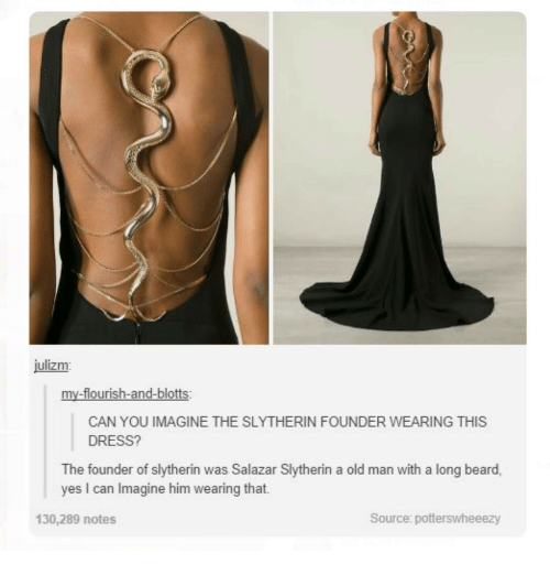 Beard, Ironic, and Old Man: julizm  my-flourish-and-blotts:  CAN YOU IMAGINE THE SLYTHERIN FOUNDER WEARING THIS  DRESS?  The founder of slytherin was Salazar Slytherin a old man with a long beard,  yes can lmagine him wearing that.  Source: potterswheeezy  130,289 notes