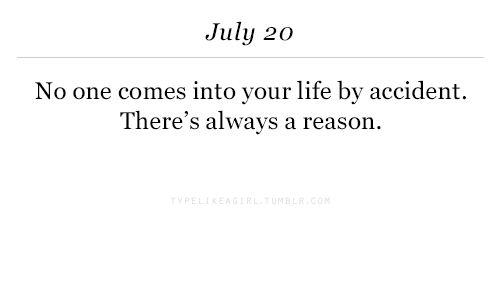 Life, July 20, and Reason: July 20  No one comes into your life by accident.  There's always a reason.