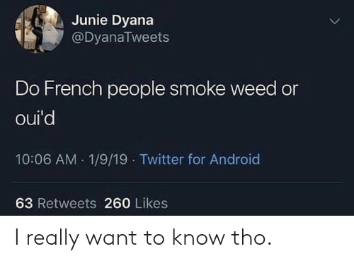 Android, Twitter, and Weed: Junie Dyana  @DyanaTweets  Do French people smoke weed or  oui'd  10:06 AM 1/9/19 Twitter for Android  63 Retweets 260 Likes I really want to know tho.