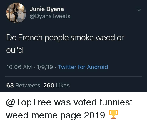 Android, Meme, and Memes: Junie Dyana  @DyanaTweets  Do French people smoke weed or  oul  10:06 AM 1/9/19 Twitter for Android  63 Retweets 260 Likes @TopTree was voted funniest weed meme page 2019 🏆