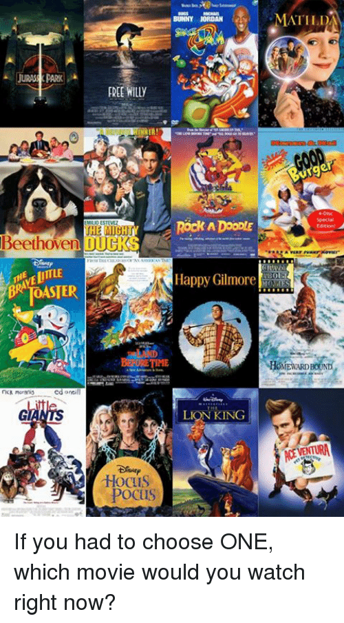 Bunnies, Choose One, and Jordans: JURAS PARK  FREE WIlly  ER!  THE MIGHT  Beethoven OUGKS  cd onci  Hocus  POCUS  BUNNY JORDAN  Rock ADooDIE  Happy Gilmore  LION KING  MATILDA  Edition! A If you had to choose ONE, which movie would you watch right now?