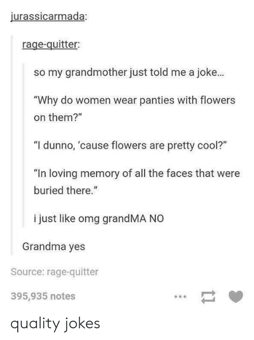 """Grandma, Omg, and Cool: jurassicarmada;  rage-quitter:  so my grandmother just told me a joke.  """"Why do women wear panties with flowers  on them?""""  """"I dunno, cause flowers are pretty cool?""""  """"In loving memory of all the faces that were  buried there.""""  i just like omg grandMA NO  Grandma yes  Source: rage-quitter  395,935 notes quality jokes"""