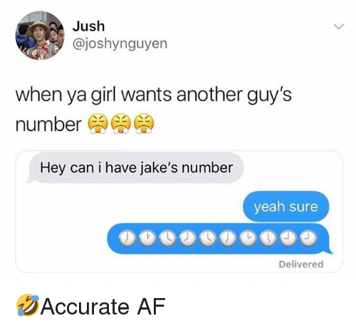 Af, Memes, and Yeah: Jush  @joshynguyen  when ya girl wants another guy's  number  Hey can i have jake's number  yeah sure  Delivered 🤣Accurate AF