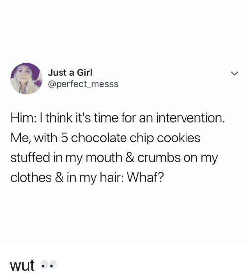 Clothes, Cookies, and Chocolate: Just a Girl  @perfect_messs  Him: I think it's time for an intervention.  Me, with 5 chocolate chip cookies  stuffed in my mouth & crumbs on my  clothes & in my hair: Whaf? wut 👀